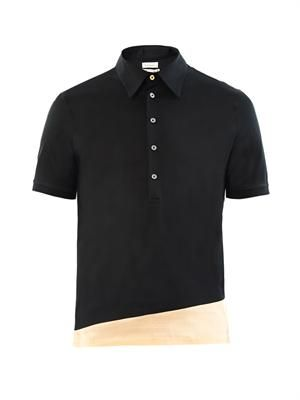 Contrast-hem cotton polo shirt