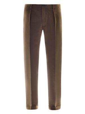 Single pleat turn up trousers