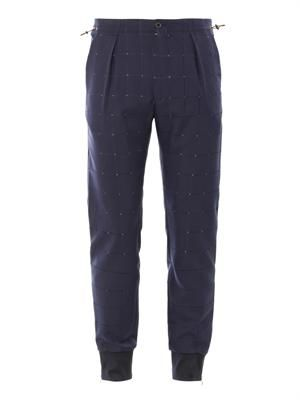 Perforated check cuffed trousers