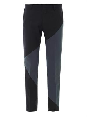 Colour panel flat-front trousers