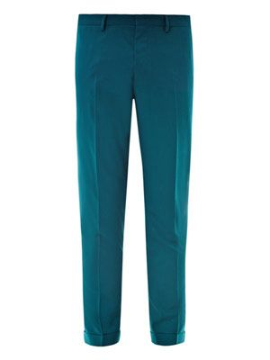 Flat front wool cropped trousers