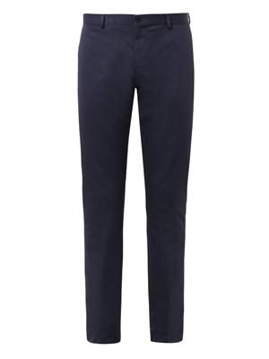 Flat-front cotton-drill trousers