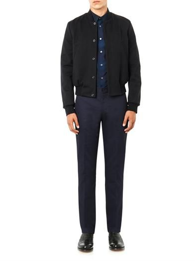 PS By Paul Smith Flat-front cotton-drill trousers