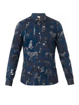 Animal-print cotton shirt