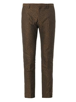 Animal-jacquard flat-front chinos