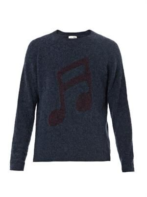 Musical notes intarsia-knit sweater