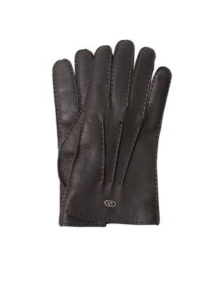 Exposed-stitch leather gloves