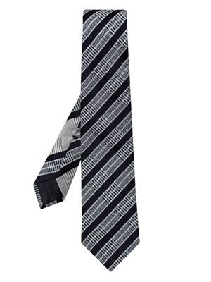 Solid stripe and check tie