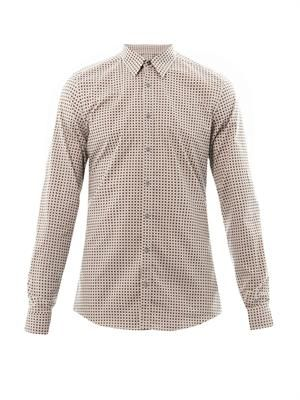 Diamond-print slim-fit shirt