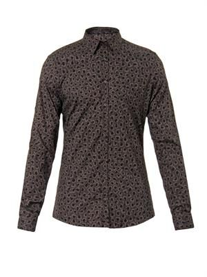 Leopard-print cotton shirt