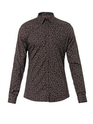 Leopard-print cotton shirt