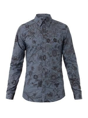 Floral-print slim-fit shirt