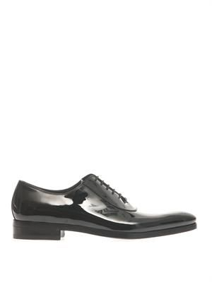 Patent leather lace-up shoes