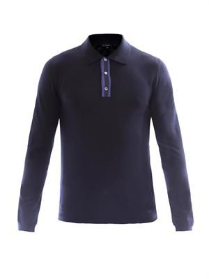 Contrast placket silk sweater