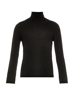 Roll-neck wool-knit sweater