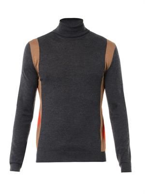 Roll-neck colour-block sweater
