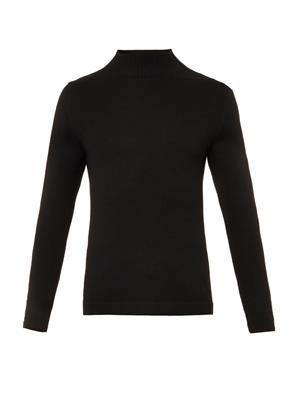 High-neck wool sweater