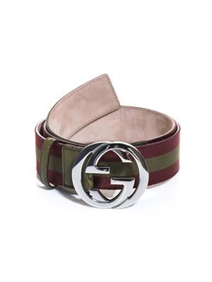 Leather trimmed canvas belt
