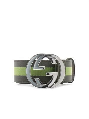 Striped canvas GG belt