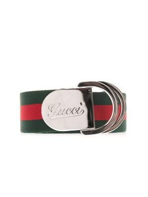 Striped canvas ribbon belt