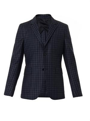 Checked wool-flannel blazer
