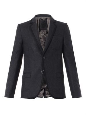 Wool-flannel single-breasted blazer