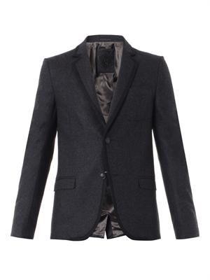Wool-flannel single-breasted blazer