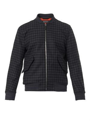 Checked wool-blend bomber jacket