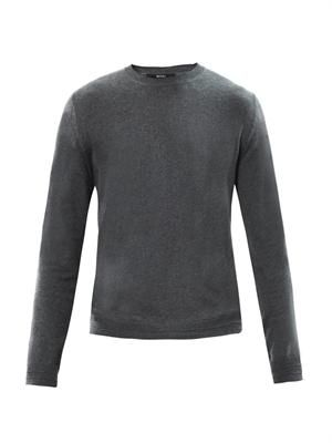 Suede-panel cotton sweater