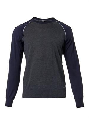 Colour-block cashmere-blend sweater