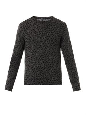 Animal-print wool and cashmere sweater