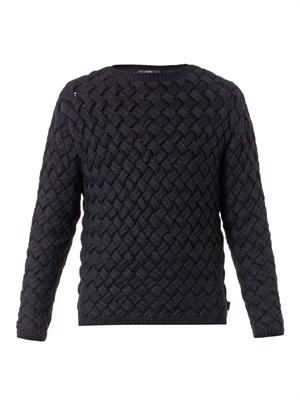 Basketweave chunky-knit sweater