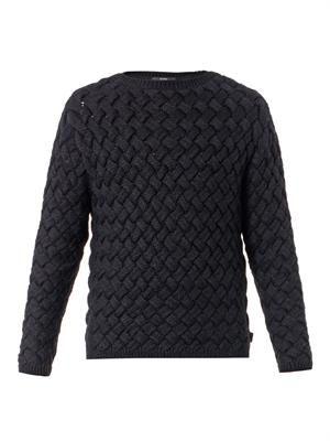 Basketweave chunky-knit sweater