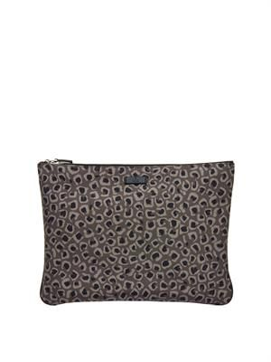 Animal-print canvas pouch