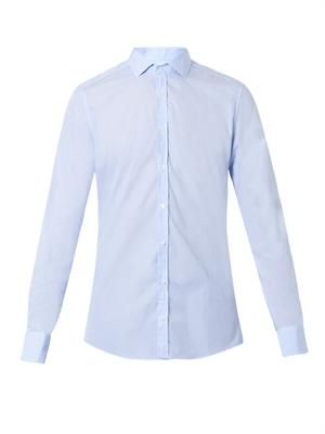 Pinstripe slim-fit cotton shirt