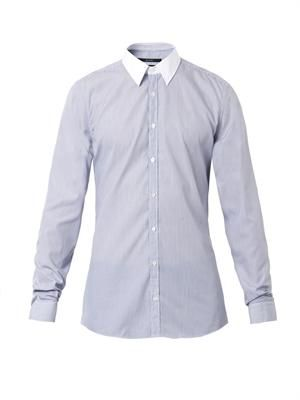 Contrast-collar pinstripe slim-fit shirt