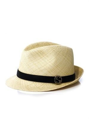 Leather-trim straw trilby