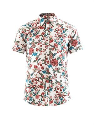 Floral-print cotton-blend shirt