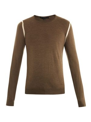 Tri-colour merino-wool sweater
