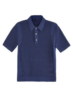 Loose-knit polo sweater