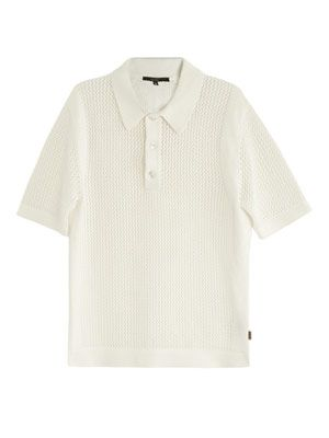 Loose-knit polo top