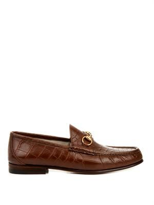 Crocodile horsebit loafers