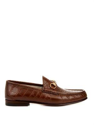 Crocodile horsebit loafers