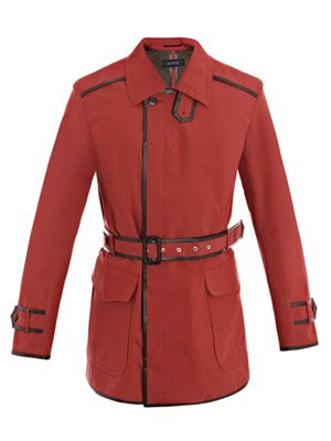 Leather-trim poplin trench coat
