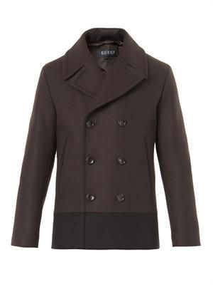 Bi-colour wool pea coat