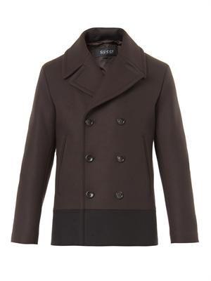 Bi-colour wool pea coat