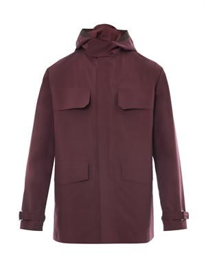Water-repellent hooded parka