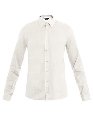 Light check slim-fit shirt