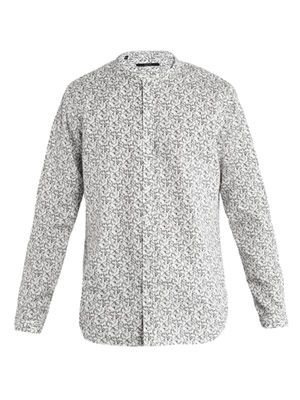 Horsebit-print collarless shirt
