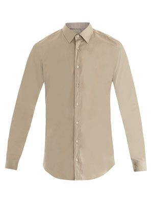 Piece-dye poplin-cotton shirt